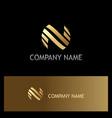 round letter n stripe gold logo vector image