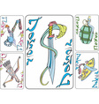 Set of playing joker cards with weapon vector image