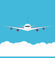 airplane in the sky commercial airplane in front vector image