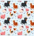domestic animals collection farming seamless vector image
