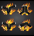 glock pistol weapon fire flames background vector image