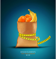 Pack with fruit with measuring tape vector image