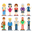 set of funny cute people cartoon vector image
