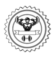 contour stamp border with muscle man lifting a vector image