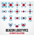Set of black beacon icons vector image