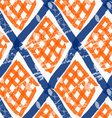 Rough brush diamond grid with orange checkered vector image