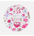 With love sticker set in circle vector image