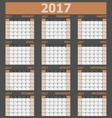 Calendar 2017 week starts on Sunday brown tone vector image