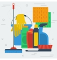 Cleaning items with bucket vector image