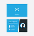 creative business card with blue color and icon vector image