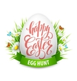Easter greeting lettering Eggs and flowers vector image