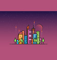 futuristic city and rockets vector image