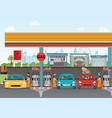 gasoline and oil station or gas filling station vector image