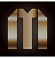 Letter metal gold ribbon - M vector image