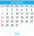 october calendar vector image