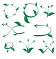 set of ecological leaf arrow on white background vector image