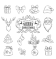 set Christmas hand drawn icons vector image