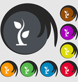 sprout icon sign Symbols on eight colored buttons vector image