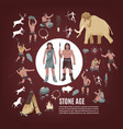 stone age people icons set vector image