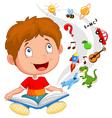 Little boy reading book education concept vector image