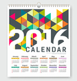 Calendar 2016 colorful triangle geometric vector image vector image