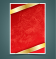 Red paper with gold ribbon vector image vector image