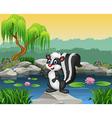 Cartoon skunk presenting on the rock vector image
