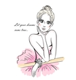 Ballerina leaning on ballet barre vector image