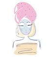 Beauty female in towel face mask clay mask vector image