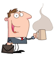 Businessman Holds Cup Of Coffee vector image