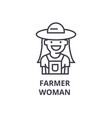 farmer woman line icon outline sign linear vector image