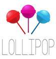 lollipop set of three candies vector image