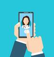 Online Doctor female Man holding smartphone vector image