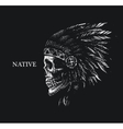 skull indian chief hand drawing style vector image