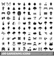 100 gardening icons set in simple style vector image