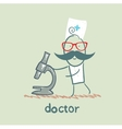 Doctor with microscope vector image