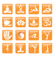 Yoga spa massage buttons icons vector image