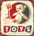 Vintage toy store metal sign vector image vector image
