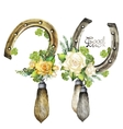 Horseshoes rabbit foots roses and clover vector image
