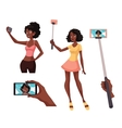 Set of beautiful black girls taking selfie with a vector image vector image