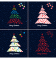 christmas tree background set vector image