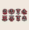 Set of colorful logos emblems ninja holding a vector image