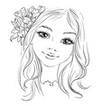 beautiful fashion girl with flower in hair vector image