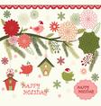 Christmas Bird Flora set vector image
