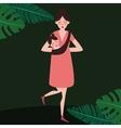 single parent woman girl female looking window vector image