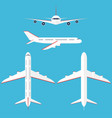 airplane set in the sky commercial airplane in vector image