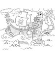 children coloring on the theme of pirates vector image