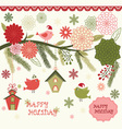Christmas Bird Flora set vector image