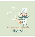 doctor draws a cross in pencil vector image