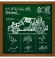 doodle futuristic car scheme on blackboard vector image